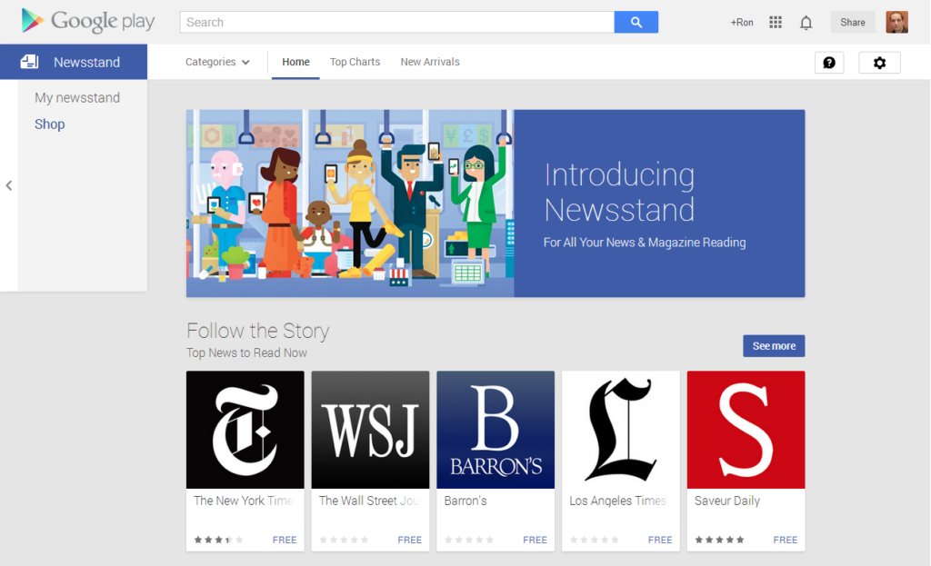 Google Play Newstand for news app
